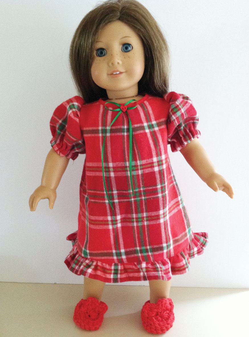 Holiday Plaid Flannel Nightgown with red crocheted slippers – Dolly ...