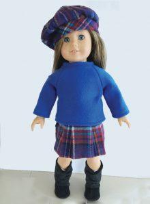 plaid skirt, beret, boots